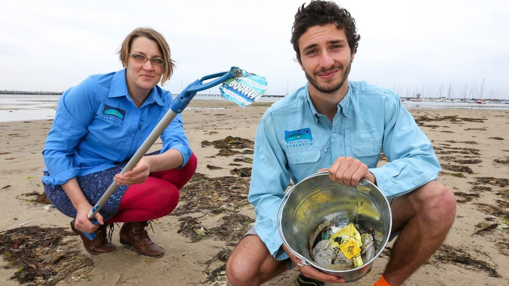 April and Gio clean up West Beach_Herald Sun Ian Currie photo credit_June 2017.jpg
