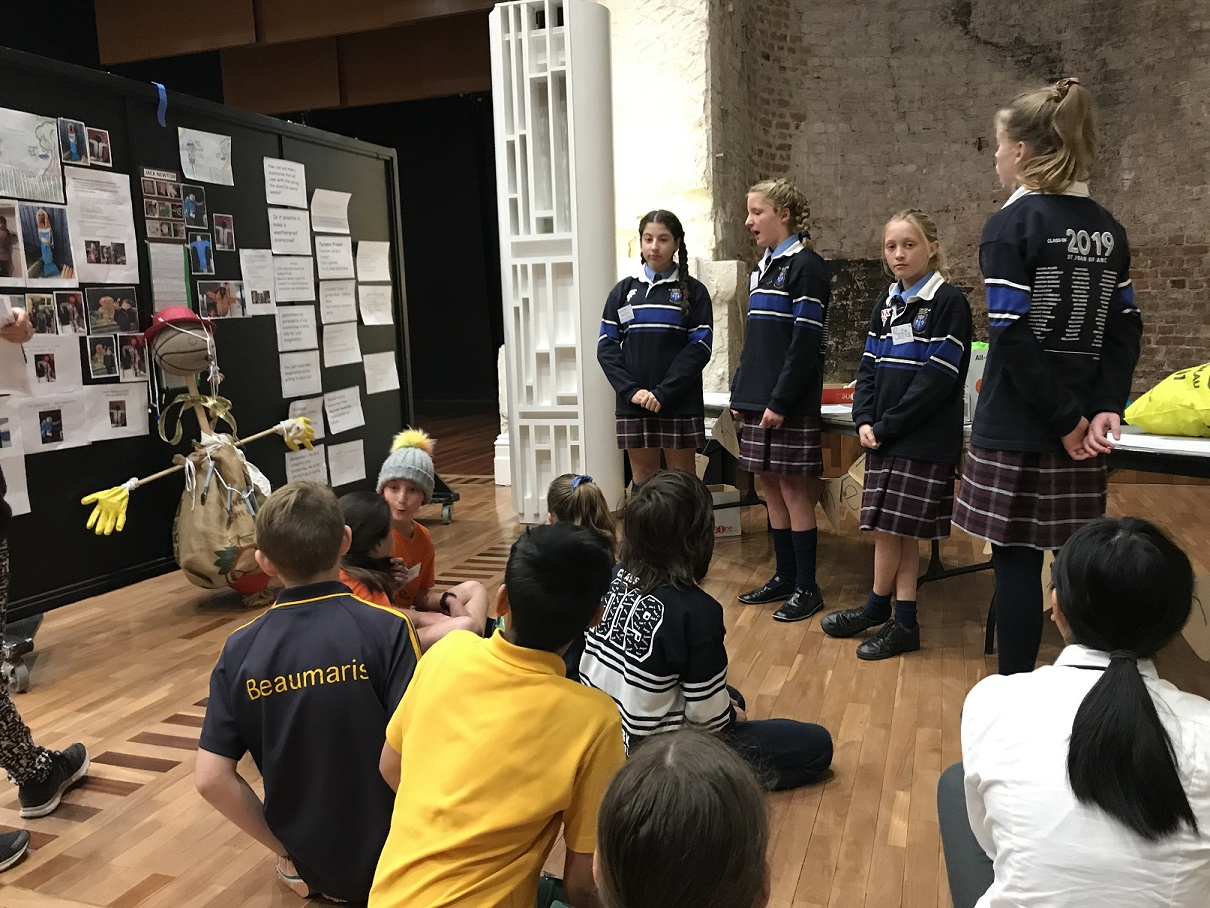 St Joan of Arc students present a workshop on recycled scarecrows
