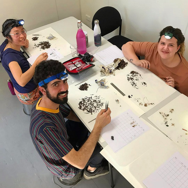 EcoCentre volunteers analysing microplastic samples